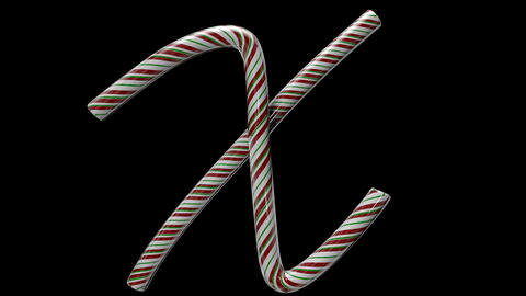 Glossy candy cane 3d animated text typography with separate alpha channel X Animation