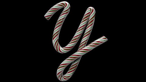 Glossy candy cane 3d animated text typography with separate alpha channel Y Animation