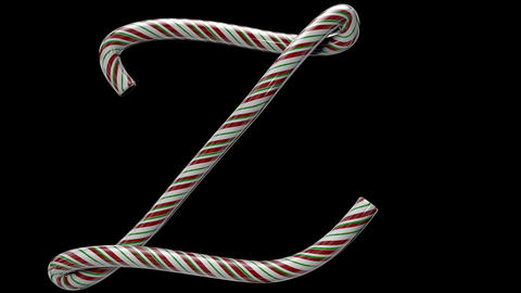 Glossy candy cane 3d animated text typography with separate alpha channel Z Animation