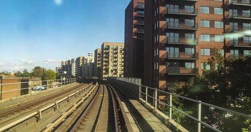 Hyperlapse of DLR transportation system in London, underground tube, passenger p Live Action