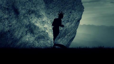Medusa the Gorgo of the Greek mythology Waiting Outside her Cave Live Action