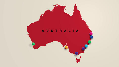 Pins In Map Showing Largest Cities In Australia Videos animados