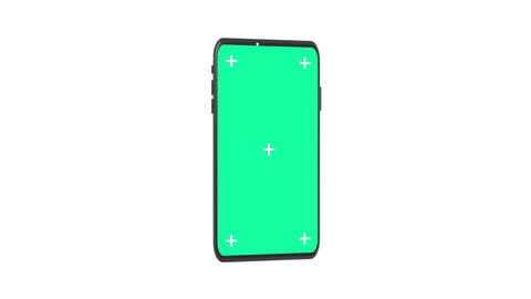 3D Rendering Smartphone with Motion Tracking Points and Green Screen for chroma key Rotating on Animation