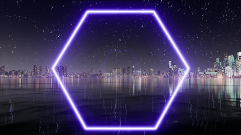 Blue neon hexagon. Light banner. Glow effect. Geometric shape Live Action