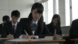 Japanese high-school students studying in the classroom Footage