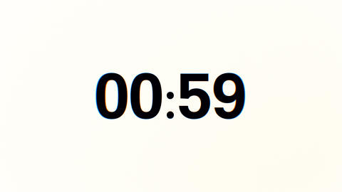 60 Seconds Glitch interference countdown numbers. 1 minute countdown. 30 or 10 Animation