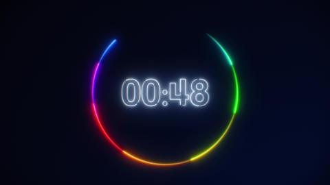 White Neon Light 60 Seconds Countdown on black background. Running dynamic light Animation