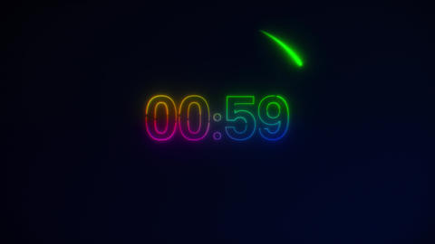 Rainbow Neon Light 60 Seconds Countdown on black background. Running dynamic Animation