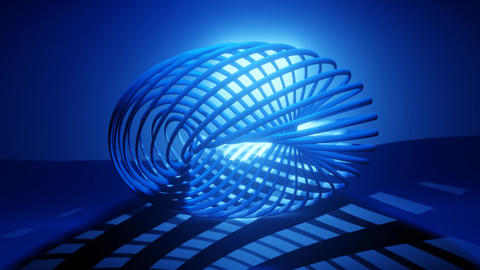 Blue torus in wireframe design on dark blue background with light effects, 3d Animation