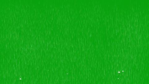 Rainfall and water splashes motion graphics with green screen background Animation