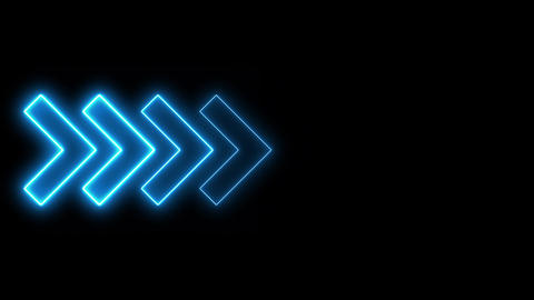 Video footage of glowing right neon Blue arrows. Looped Neon Lines abstract VJ Animation