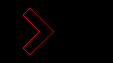 Video footage of glowing right neon Red arrows. Looped Neon Lines abstract VJ Animation