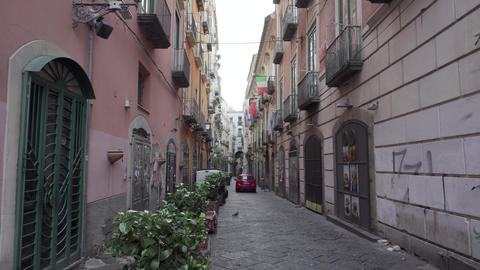 Dirty morning street in Salerno - Pan Live Action