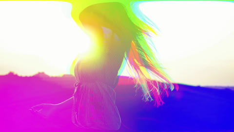 Multi-colored girl with digital effects of light interference and waves, broken Acción en vivo