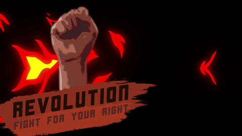 Human hand fist with slogan fight for your right on fire background with alpha ライブ動画