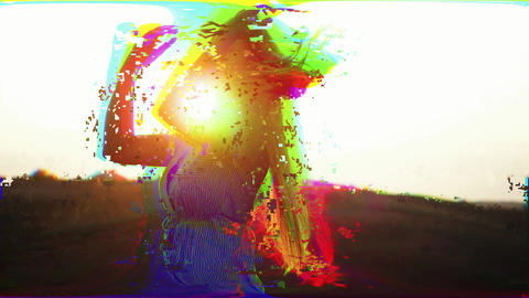Multi-colored girl with abstract digital effects of light interference and waves Acción en vivo