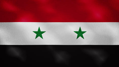 Syria dense flag fabric wavers, background loop Animation