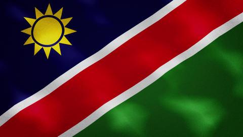 Namibian dense flag fabric wavers, background loop Acción en vivo