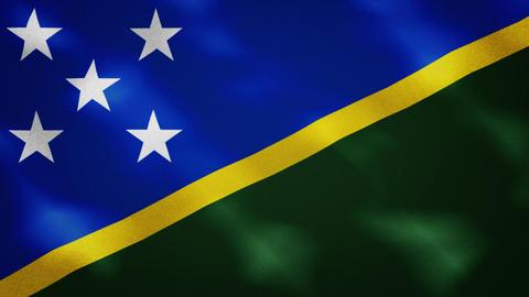 Solomon Islands dense flag fabric wavers, background loop Acción en vivo