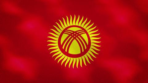 Kyrgyz dense flag fabric wavers, background loop Acción en vivo