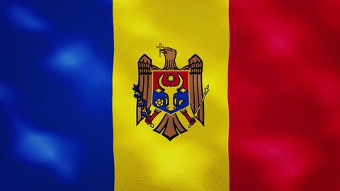 Moldavian dense flag fabric wavers, background loop Animation