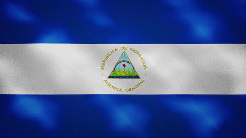 Nicaraguan dense flag fabric wavers, background loop Animation