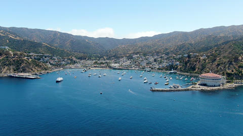 Aerial view of Avalon harbor in Santa Catalina Island, USA Live Action