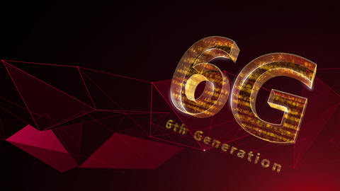 6G Digital Network technology 6th generation mobile communication concept background 37 red Animation