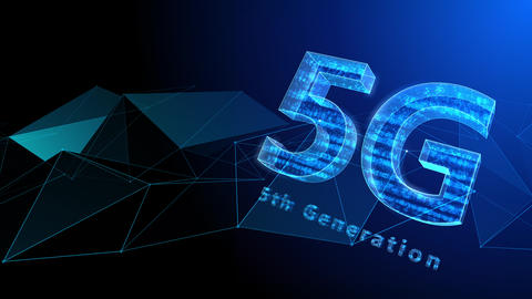 5G Digital Network technology 5th generation mobile communication concept background 37 blue Animation