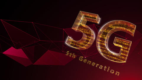 5G Digital Network technology 5th generation mobile communication concept background 37 red Animation