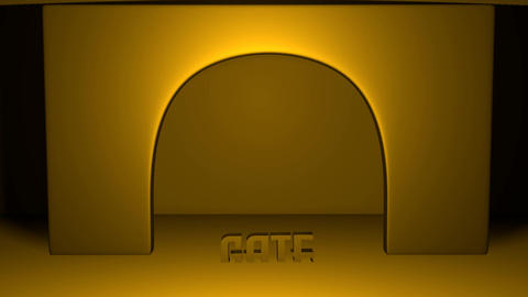 The golden illuminated 3d gate with an arc moves from above into the space of the scene, from below Animation