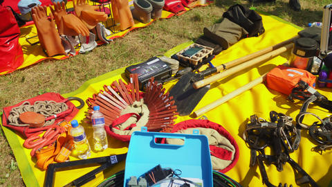 electrical equipment and workwear put on fabric in field Live Action