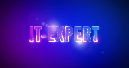 IT-Expert. Electric lightning words. Logotype Animation