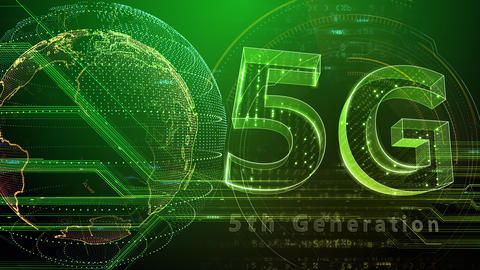 5G Digital Network technology 5th generation mobile communication concept background 47 green 3 Animation
