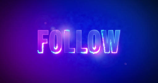 Follow. Electric lightning words. Logotype. Follower Animation