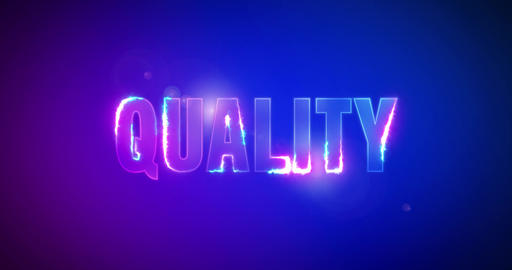 Quality. Electric lightning words. Logotype Animation