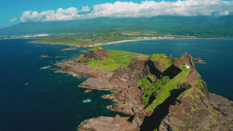 Aerial view Sanxiantai Recreation Area and coastline . Famous Park in Eastern Taiwan Live Action