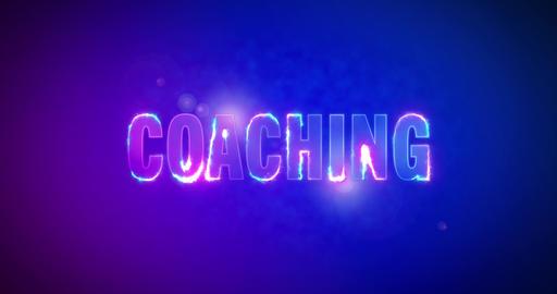 Coaching. Electric lightning words. Logotype Animation