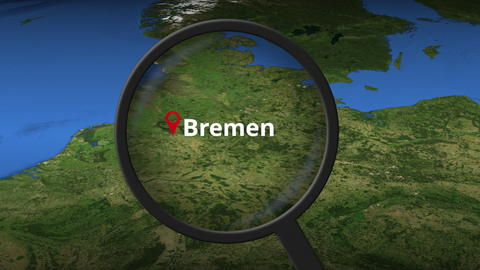 Bremen city being found on the map, 3d rendering Photo