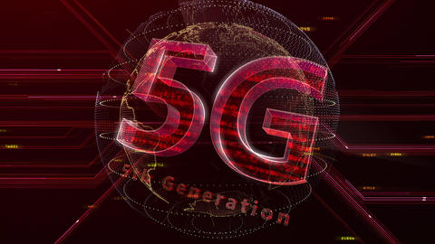 5G Digital Network technology 5th generation mobile communication concept background 47 red 3 Animation