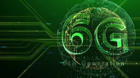 6G Digital Network technology 6th generation mobile communication concept background 47 green 3 Animation