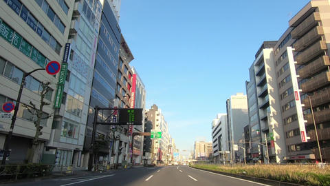 Japanese city landscape. National highway driving video and car window Live Action