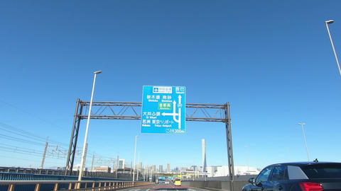 Driving image of national highway on a sunny day. Japanese National Route 357 Live Action