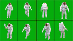 Astronaut in different positions with green screen background Videos animados
