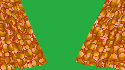 Orange bubbles design curtain opening with green screen background Animation