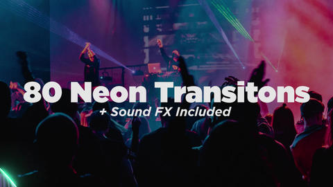 80 Neon Light Transitions Plantillas de Premiere Pro