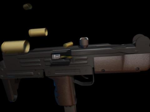 Machine gun UZI c Stock Video Footage