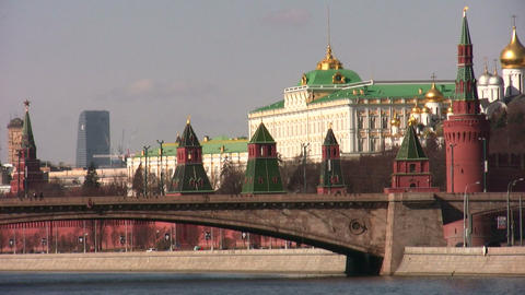 kremlin moscow and construction city Stock Video Footage