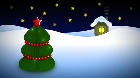 Night christmas tree near house loop Stock Video Footage