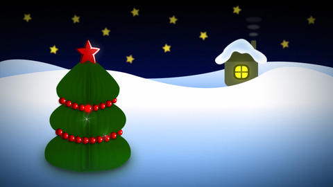 Night christmas tree near house loop Animation